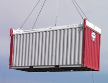 container unloading with container spreader supplied by Tec Container Asia Pacific