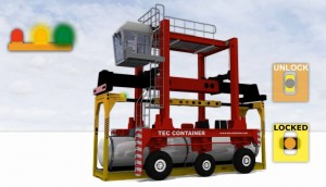 tec container overheight frame with straddle carrier