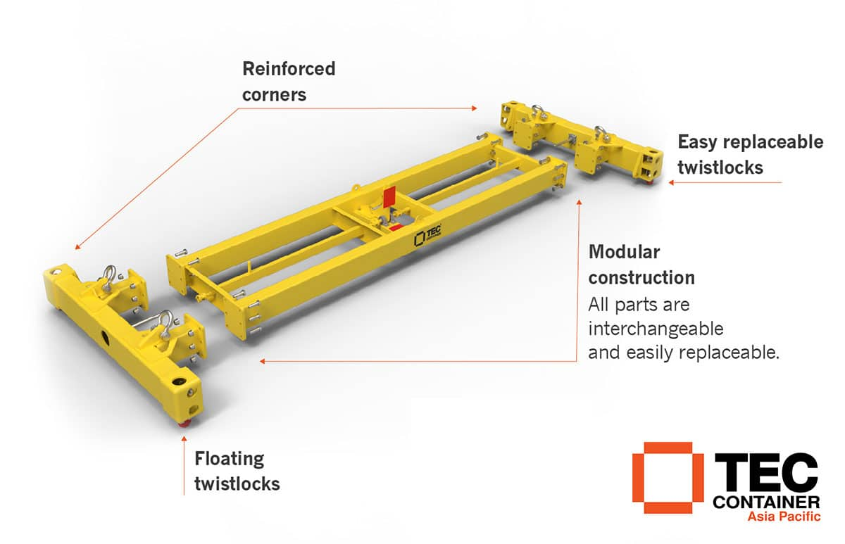 Container Spreader - Crane and reach stacker attachement